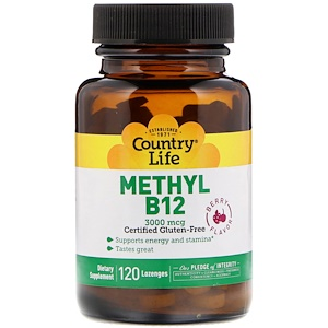 Country Life Methyl B12 Berry 3 000 Mcg 120 Lozenges 2020 베리 라즈베리 건강한