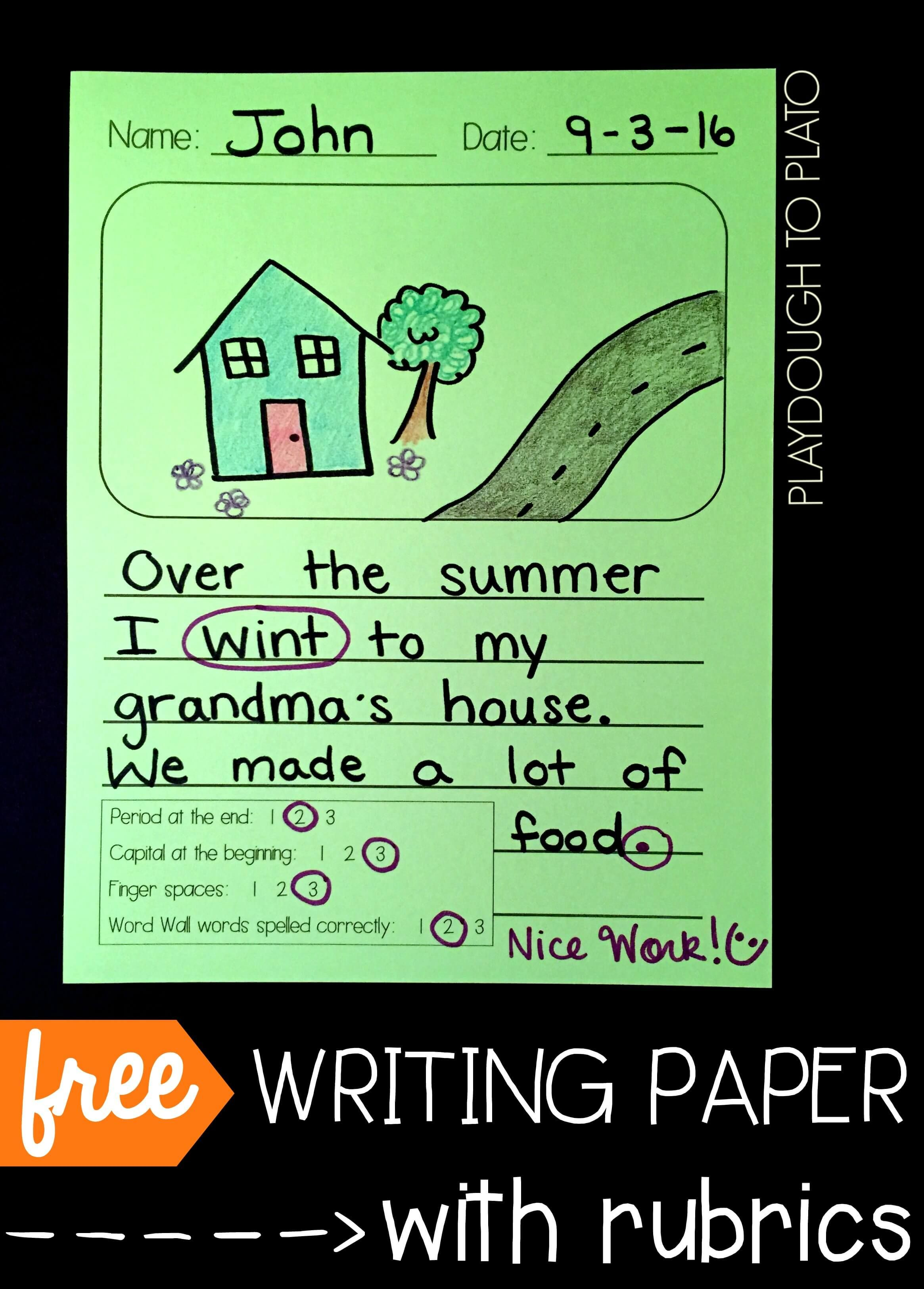 Differentiated Writing Paper With Rubrics Playdough To Plato Differentiated Writing Second Grade Writing Primary Writing Easter stories using writing process