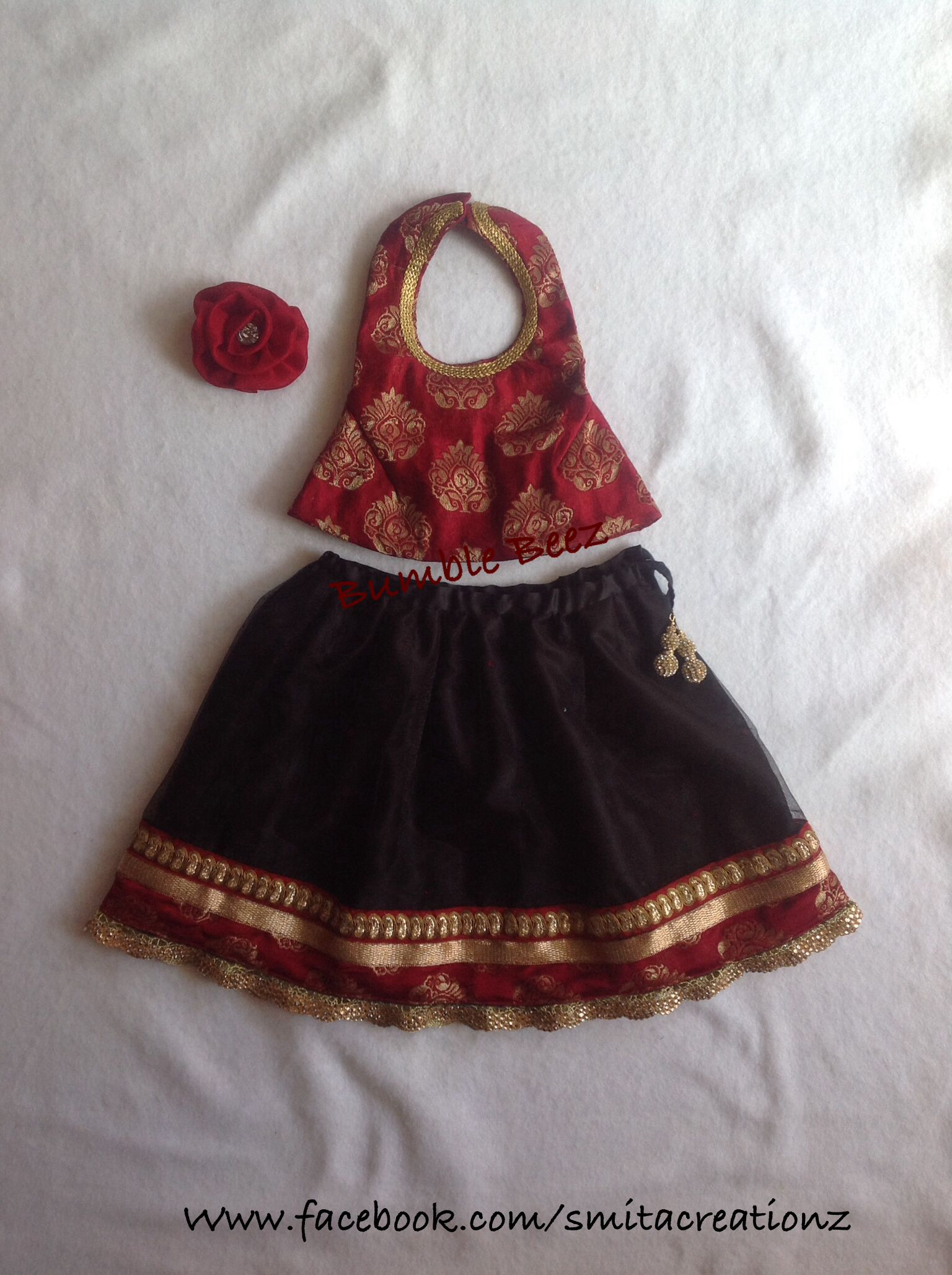 Red n BLK Lehenga at Bumble Beez Designer Dresses.