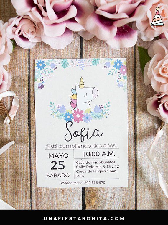 Invitación Unicornio Primavera Bautizo Invitaciones