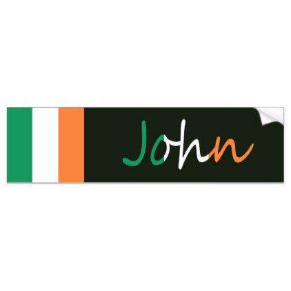 Personalized name overlaid on irish flag b sticker bumper sticker irish flags and overlays