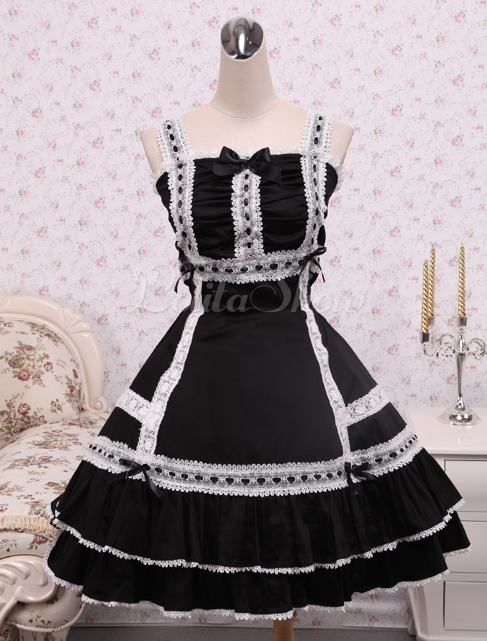 Cotton Black Lace Classic Lolita Dress - Lolitashow.com