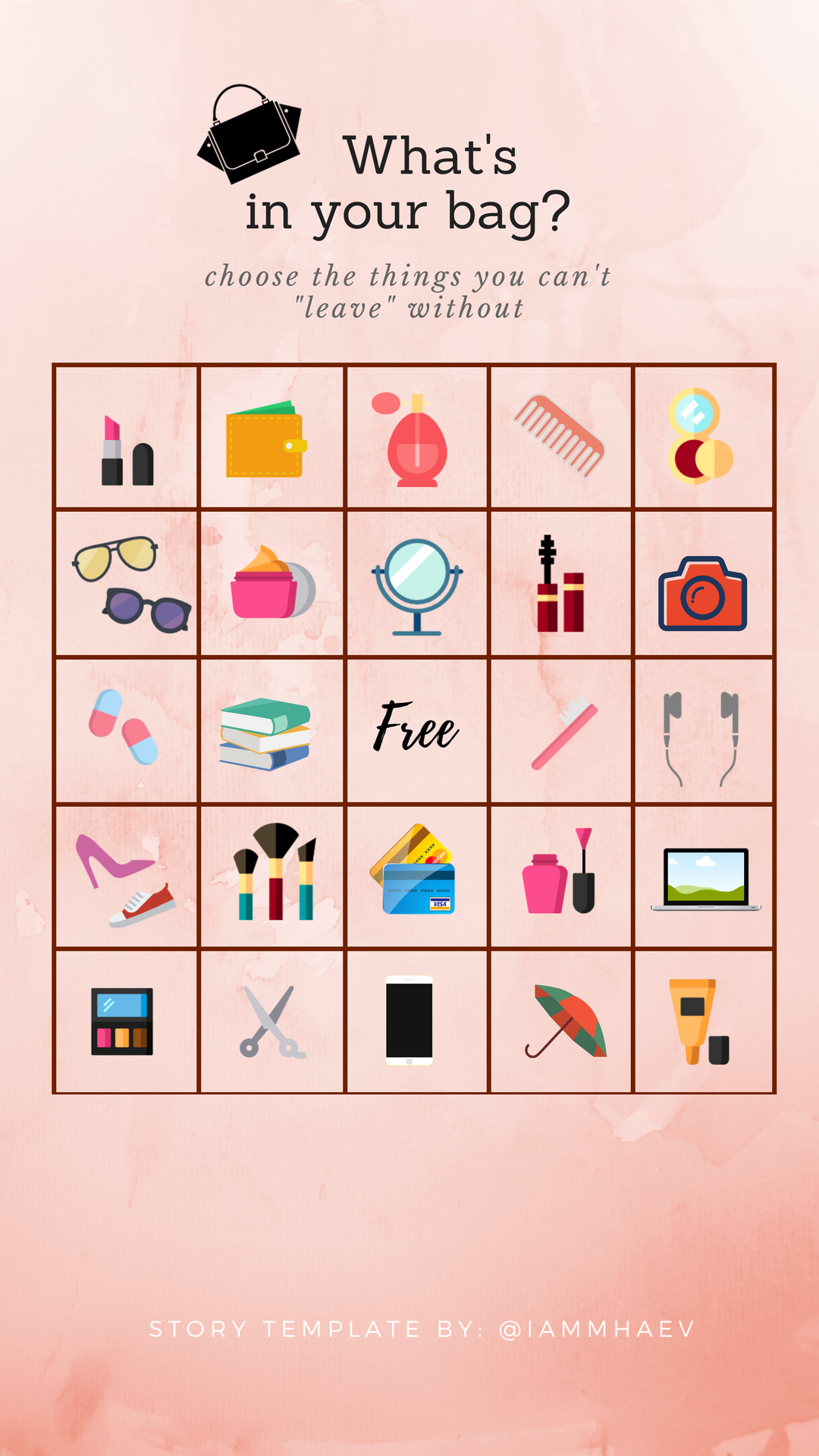Whats in your bag? (icons) Bingo Instagram Story Template