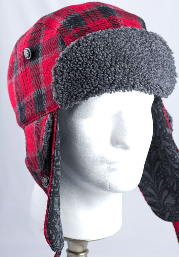 Mens Trapper Hat with Earflaps Red Buffalo Plaid by CherryPatHats ... 66d6af59dba