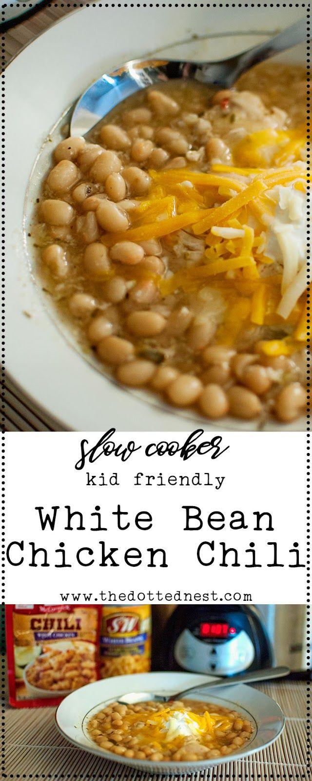 Slow Cooker Kid Friendly White Bean Chicken Chili Recipe
