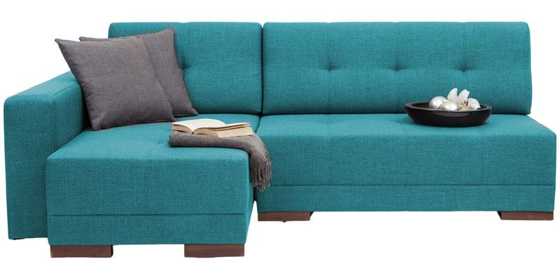 Apollo Rhs Sectional Sofa With Left Side Chaise In Blue Colour By