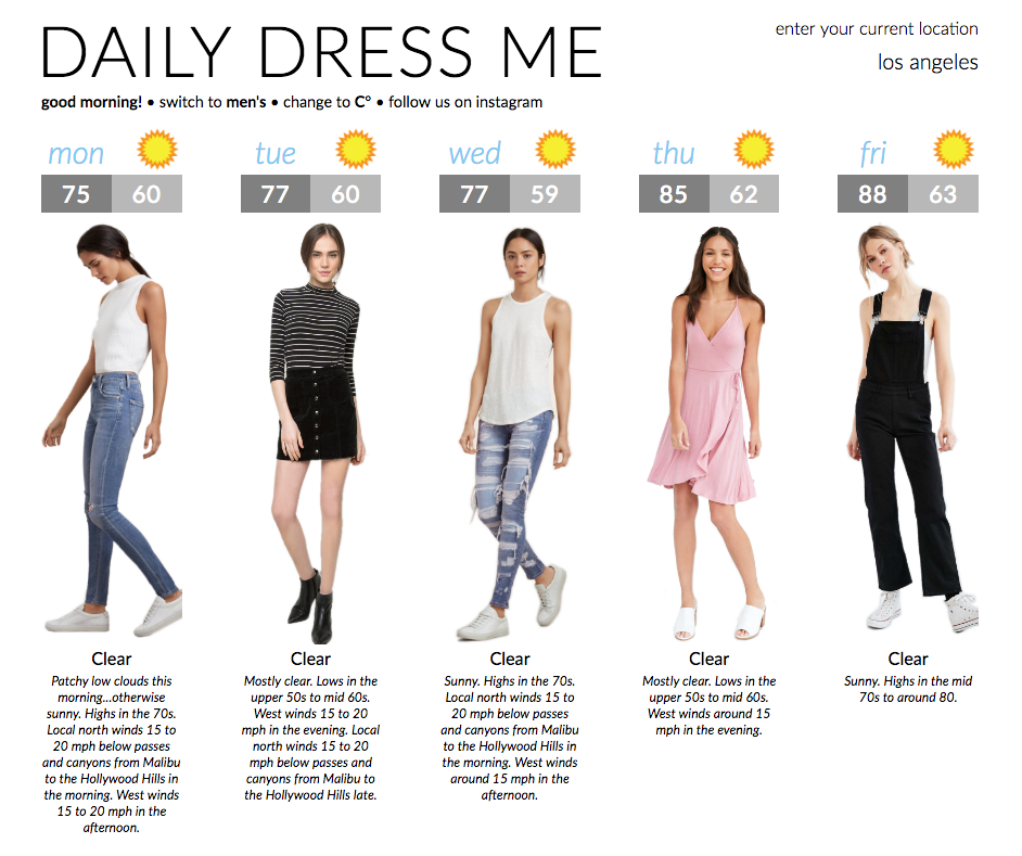 Daily Dress Me A Weekly Forecast That Tells You What To Wear Based On The Weather Daily Dress Me Daily Dress Dresses