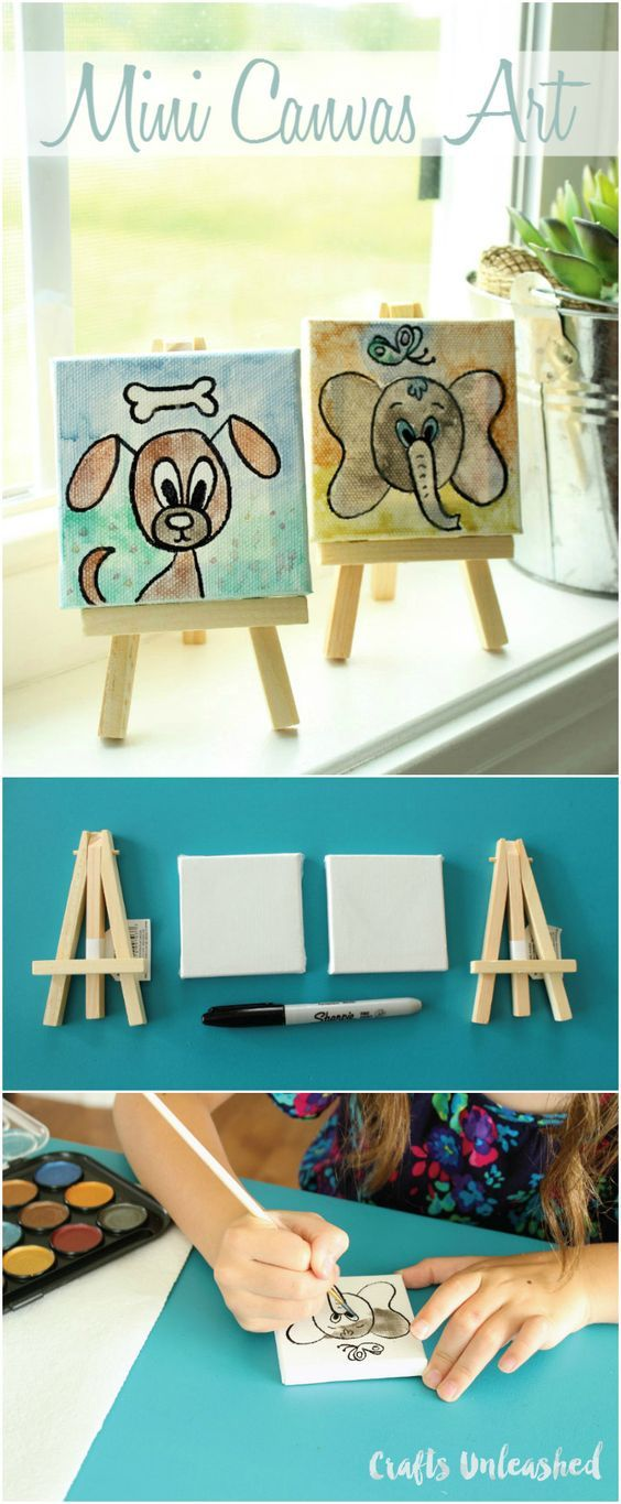 Mini Canvas Ideas for Kids Craft Tutorial  Consumer Crafts is part of Kids Crafts Canvas Tutorials - These mini canvas ideas would be perfect for an art party, or packaged together as a gift! My daughter and I made these paintings on a rainy afternoon day