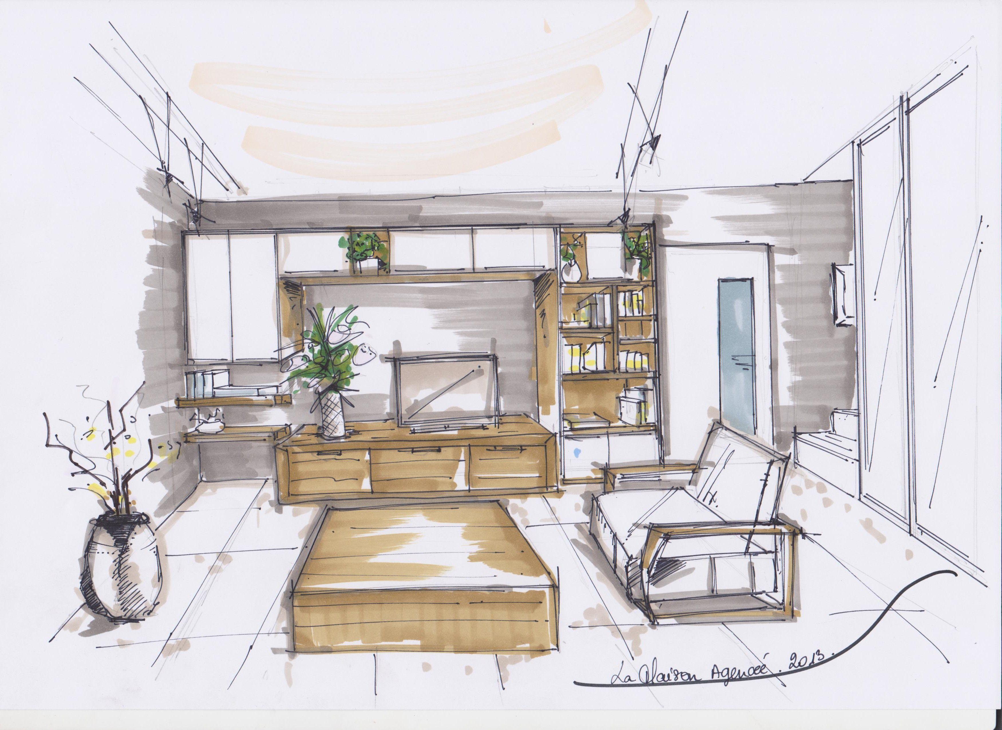 Croquis meuble tv biblioth que la maison agenc e for Croquis salon