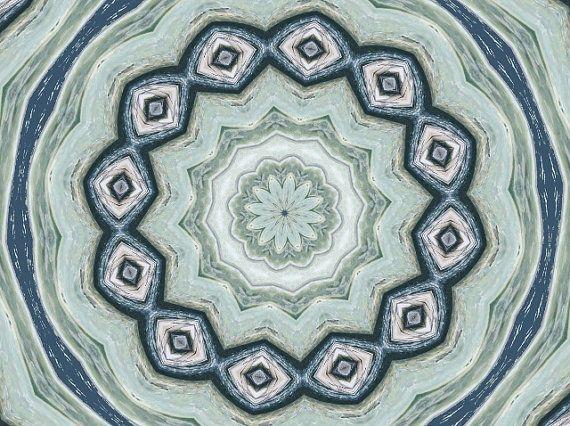Mandala Art Abstract Blue Teal Art Unique by LongForgotten on Etsy, $20.00