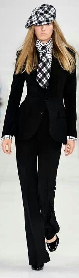 Ralph Lauren ~ Black Pant Suit w Contrasting Black + White Details Spring 2014