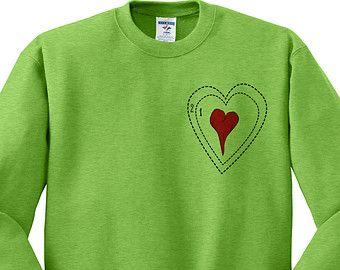 Kiwi Green Crewneck Grinch Heart Ugly Christmas Sweatshirt Sweater