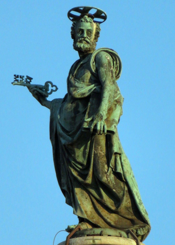 Bronze Statue Of St Peter Atop Trajan's Column, Rome. In