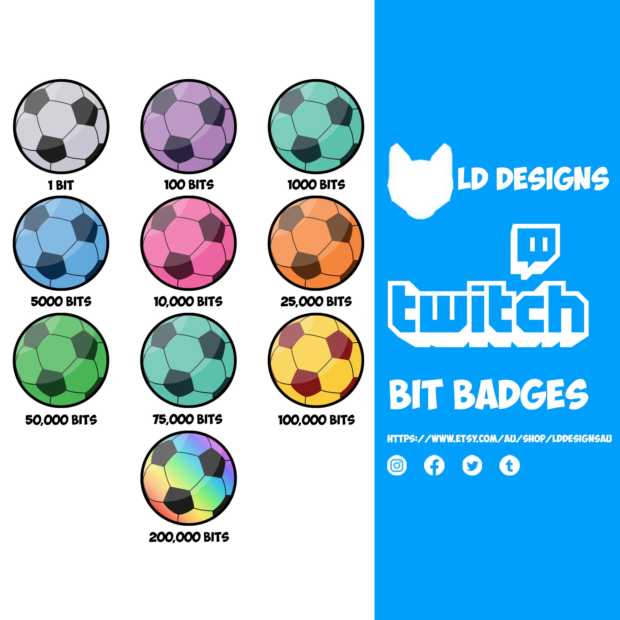 Twitch Bit Badges Twitch Sub Badges Soccer Ball In 2021 Twitch Bits Twitch Soccer Ball