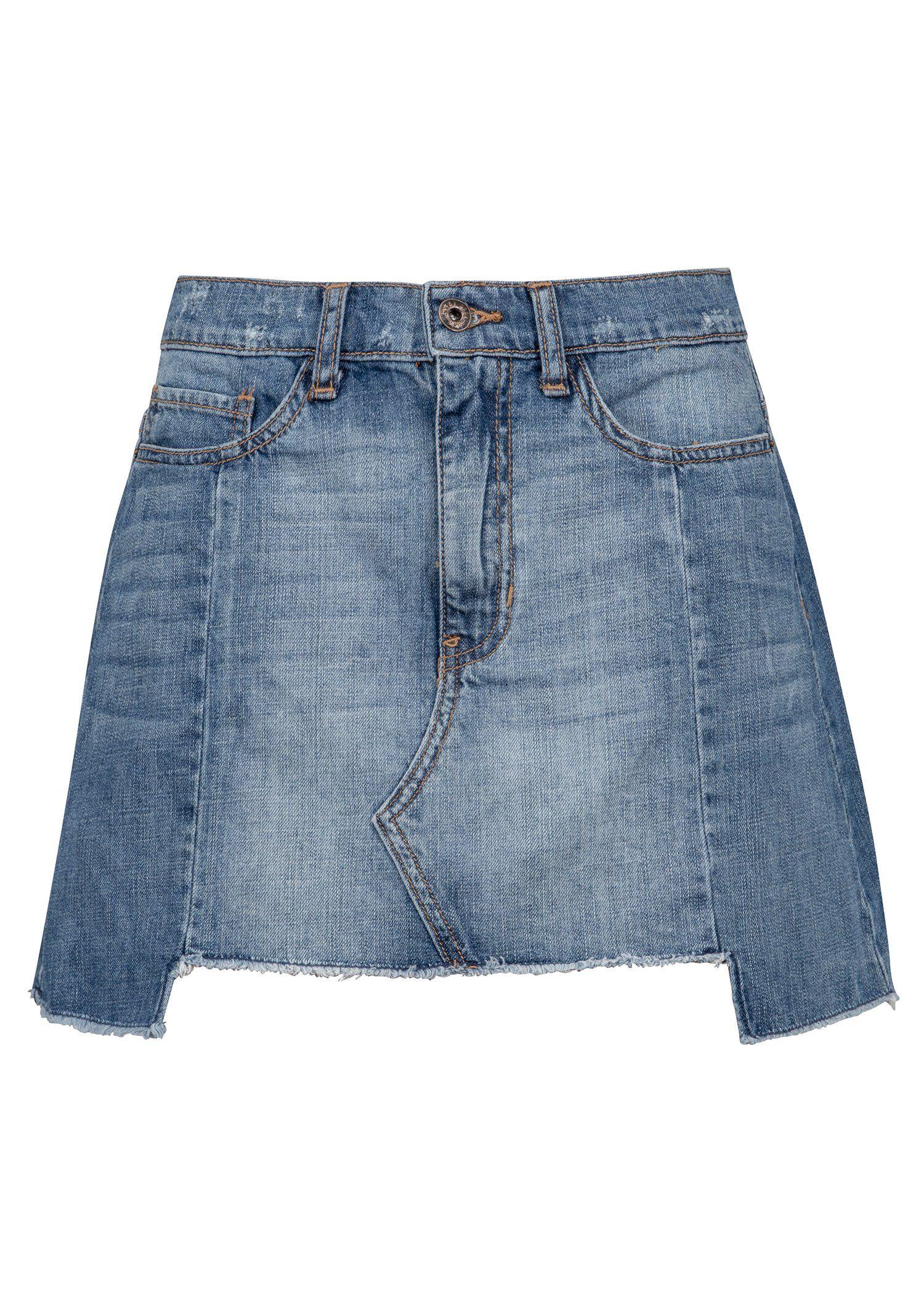 34015b952db305 Blue Denim Jeans Distressed Mini Skirt | Upcyclingmode - aus Alt ...