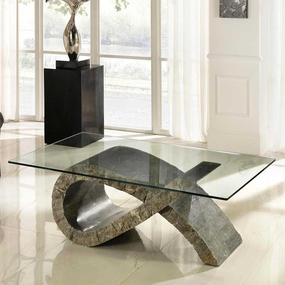 Stein Couchtisch mit Glasplatte modern Jetzt bestellen unter ...