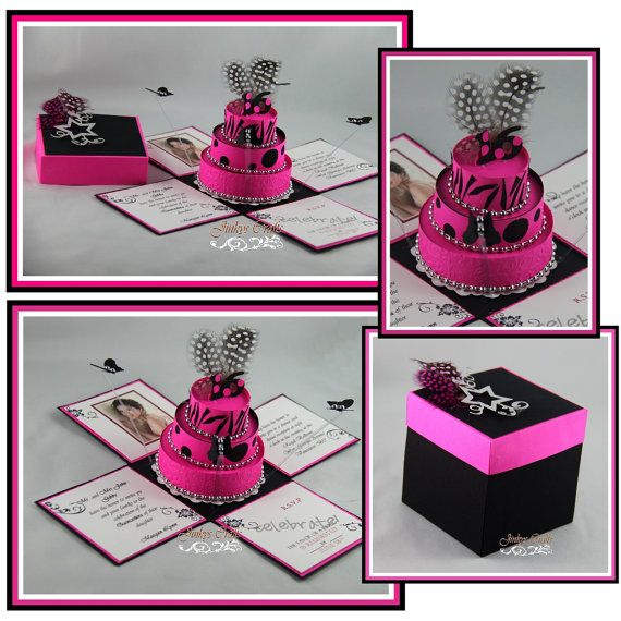 Hot Pink Black Birthday Exploding Box Invitations And - Creative diy birthday invitations in a box