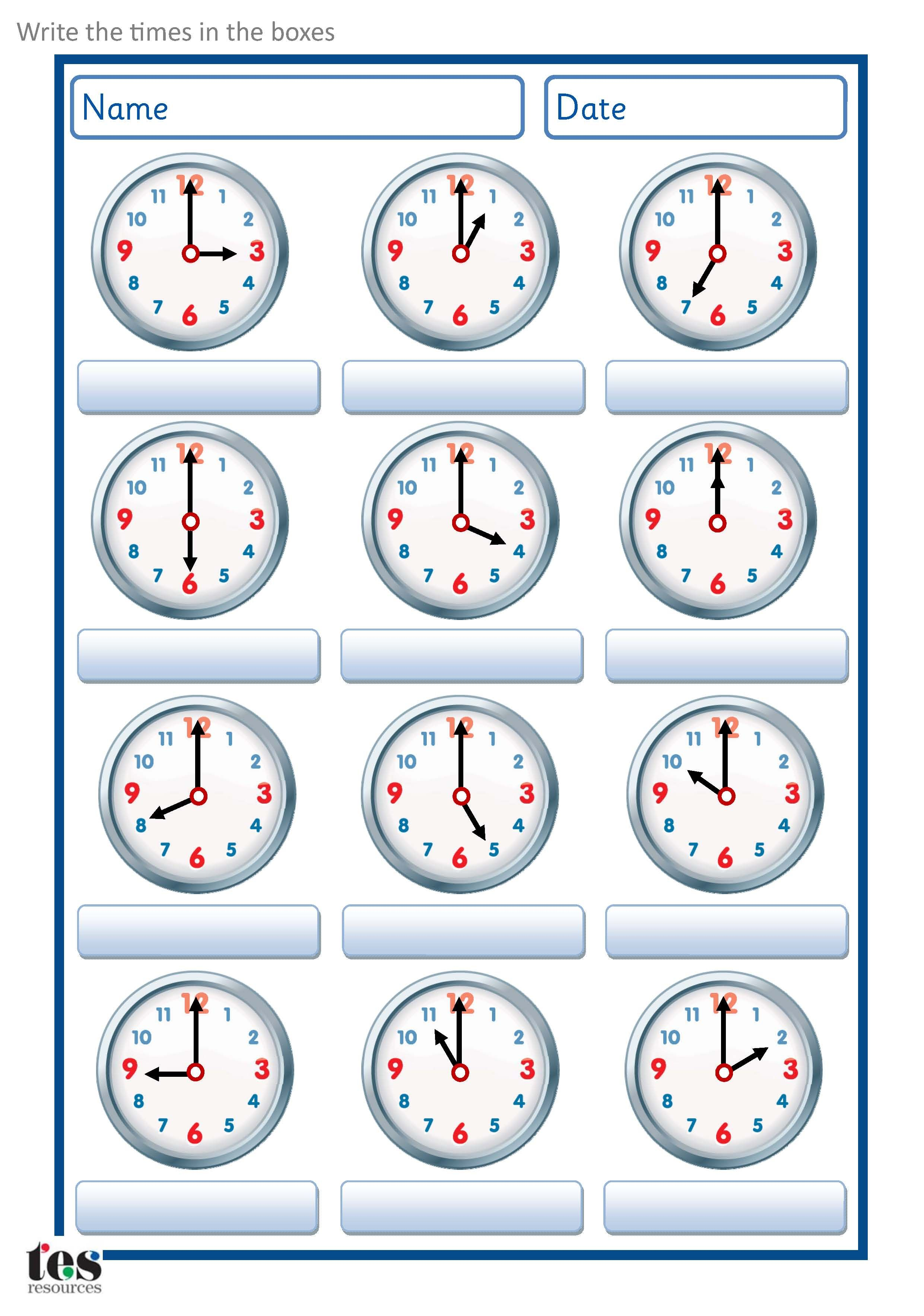 A set of worksheets to use when developing analogue clock skills – Analog Clock Worksheet