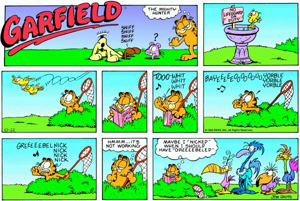 In This Garfield Comic By Jim Davis The Transitions In Time Are Marked By Close Ups Of Garfield There Are 2 Close Ups B Garfield Comics Scary Comics Garfield