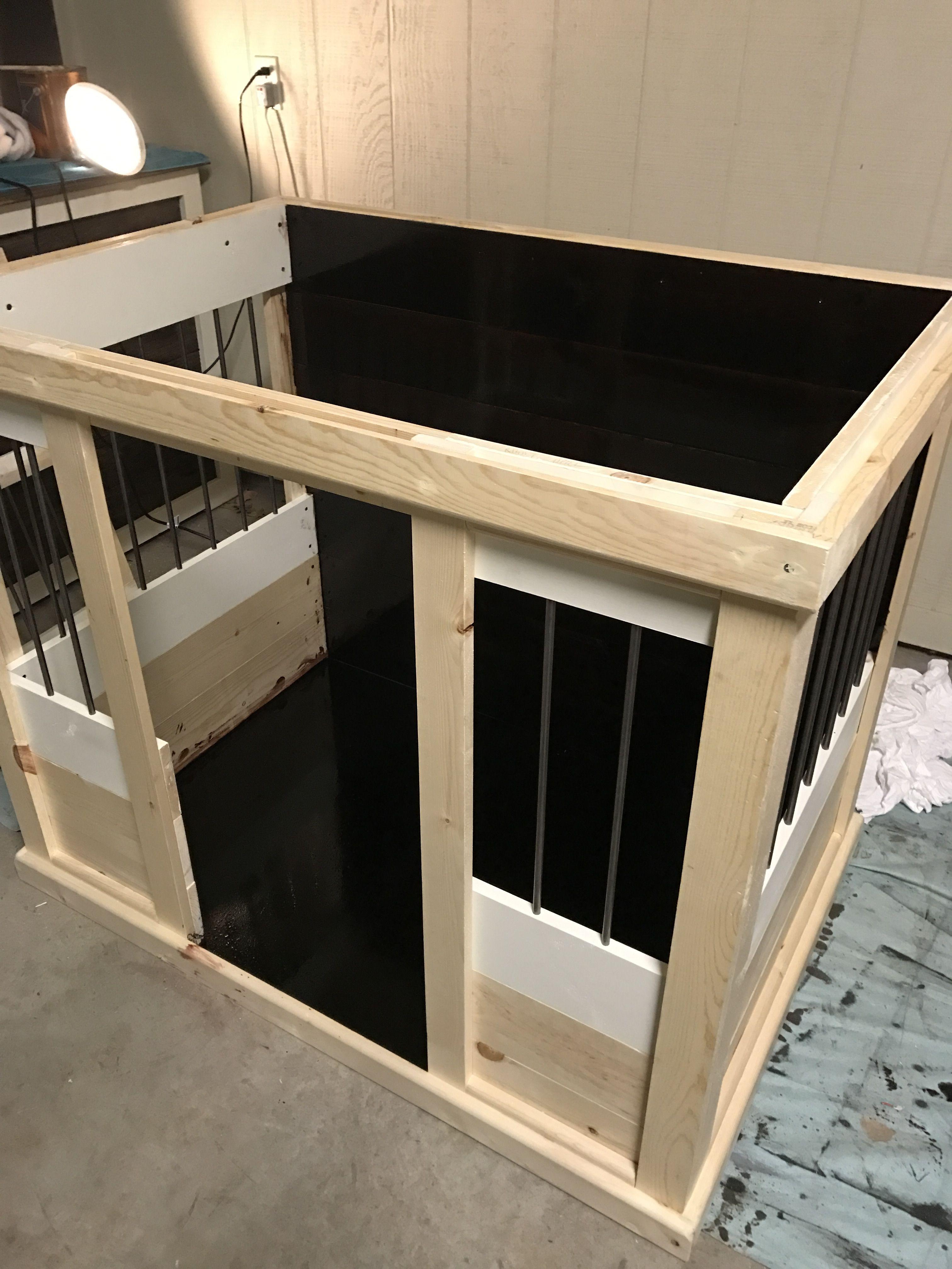 crate wood pet dog end espresso cage wooden bed furniture table kennel itm indoor