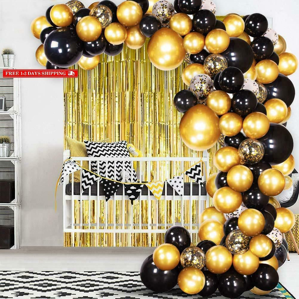 Joyypop Diy Black Gold Balloon Garland Arch Kit With Balloons Gold