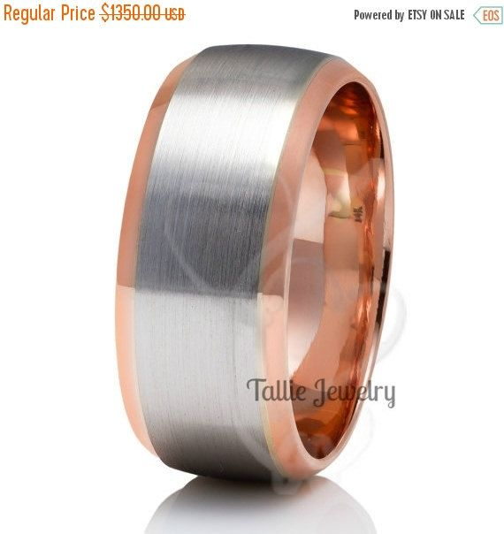 Mens Platinum 14k Rose Gold Wedding Bands Two Tone Gold Mens