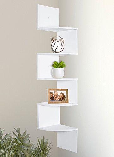 Greenco 5 Tier Wall Mount Corner Shelves White Finish In 2020 Corner Shelves Wall Mounted Corner Shelves Corner Bookshelves