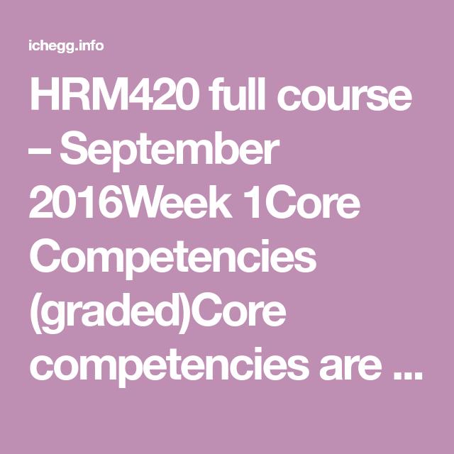 HRM420 Full Course - September 2016
