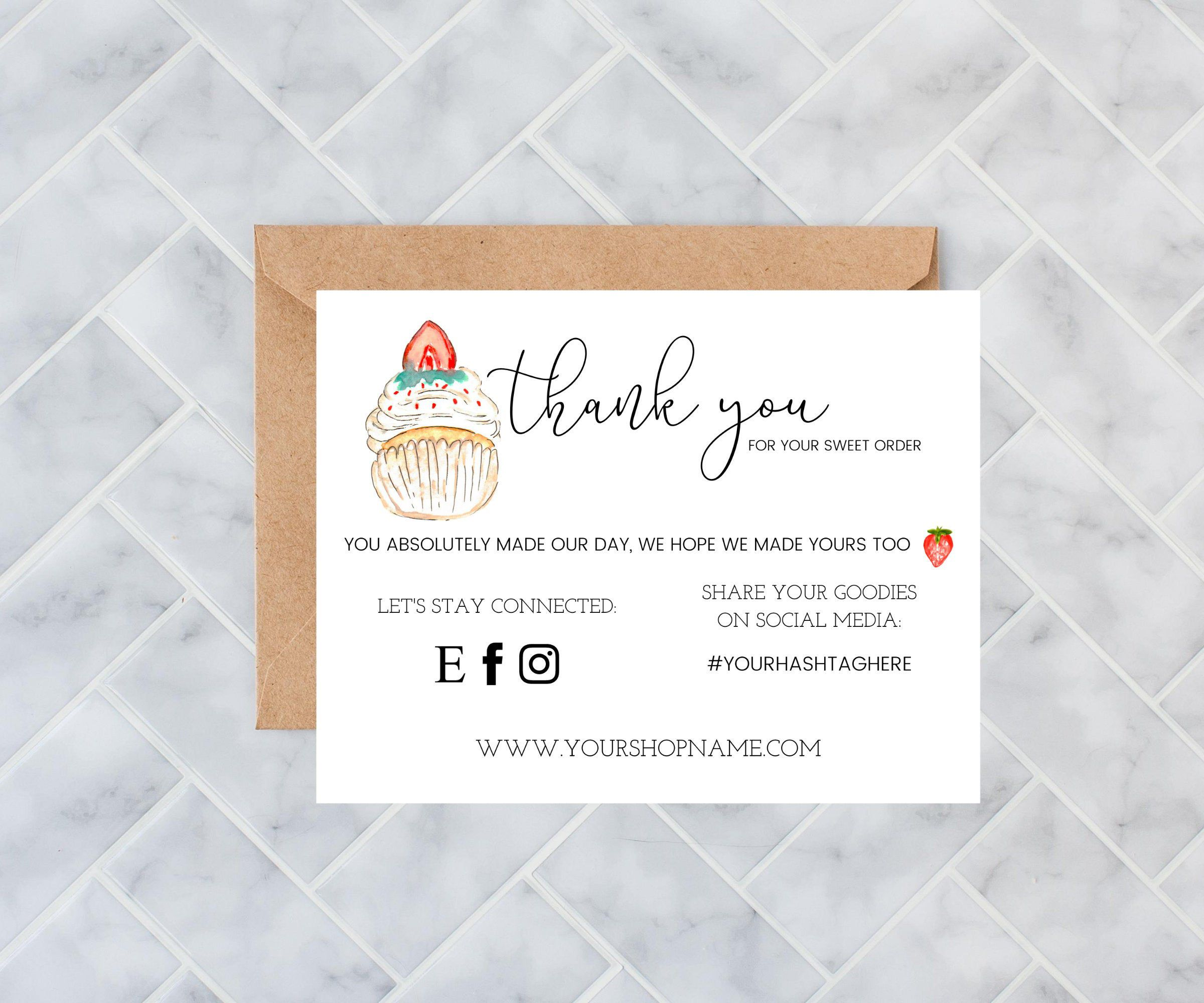 Bakery Business Cards Editable Template Baker Business Cards Etsy Bakery Business Cards Business Thank You Cards Bakery Packaging