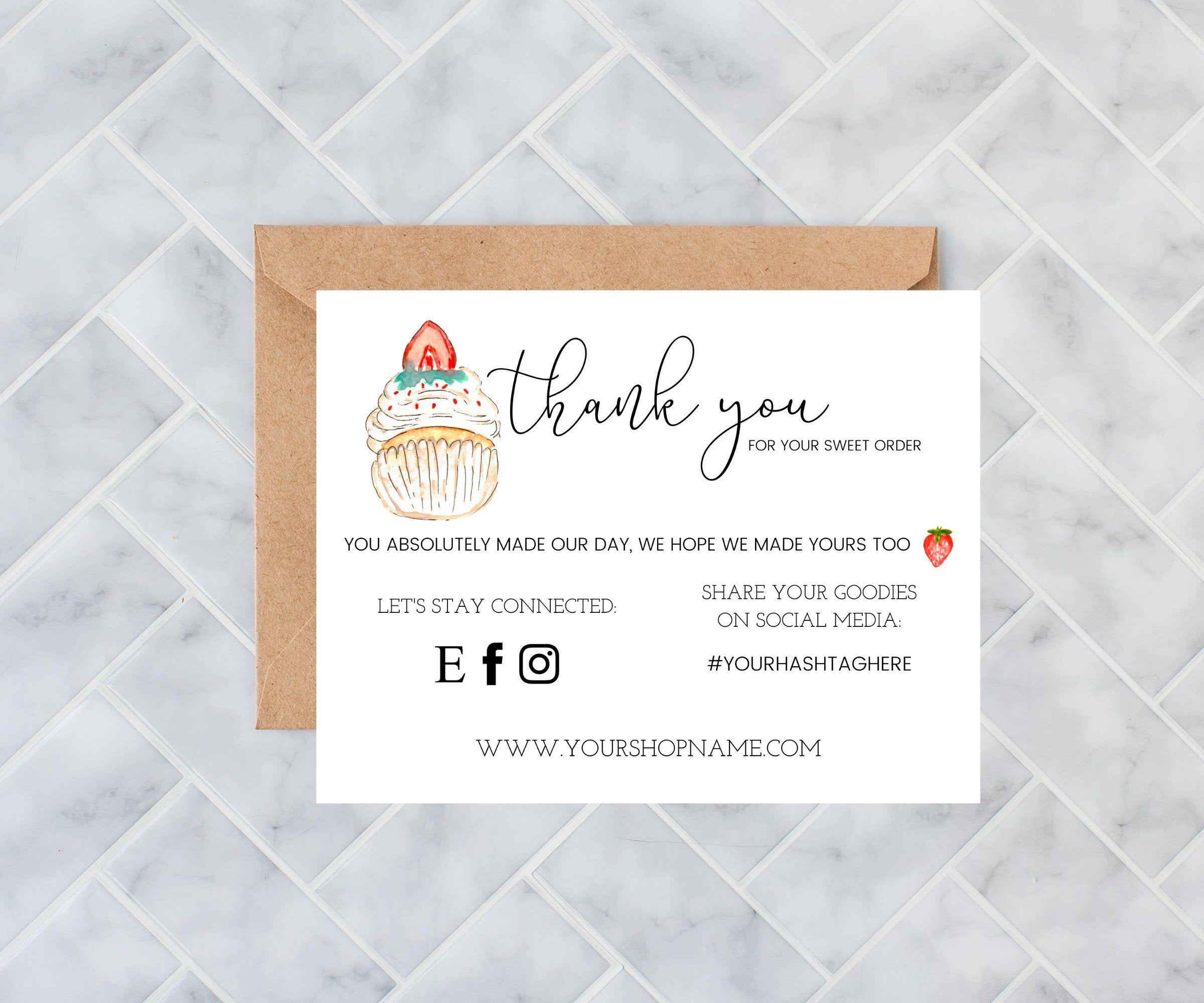 Instant Download Thank You Card Editable And Printable Thank Etsy Di 2021 Kartu Nama Bisnis Kartu Nama Ide Kemasan