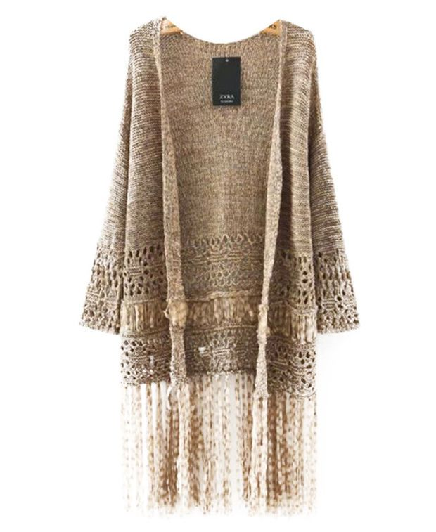 Cut Out Fringed Long Sleeve Cardigan