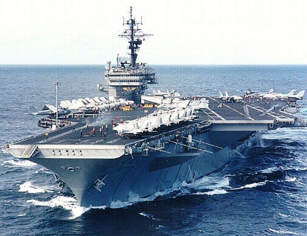 Lead ship of her class, the USS Kitty Hawk (CV-63) in her later years