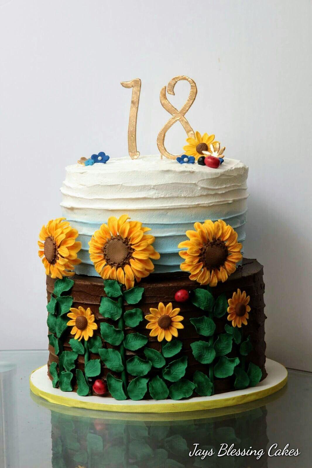 Astounding 18Th Birthday Cake Sunflower Lovers Chocolate Cake With Ganache Funny Birthday Cards Online Necthendildamsfinfo