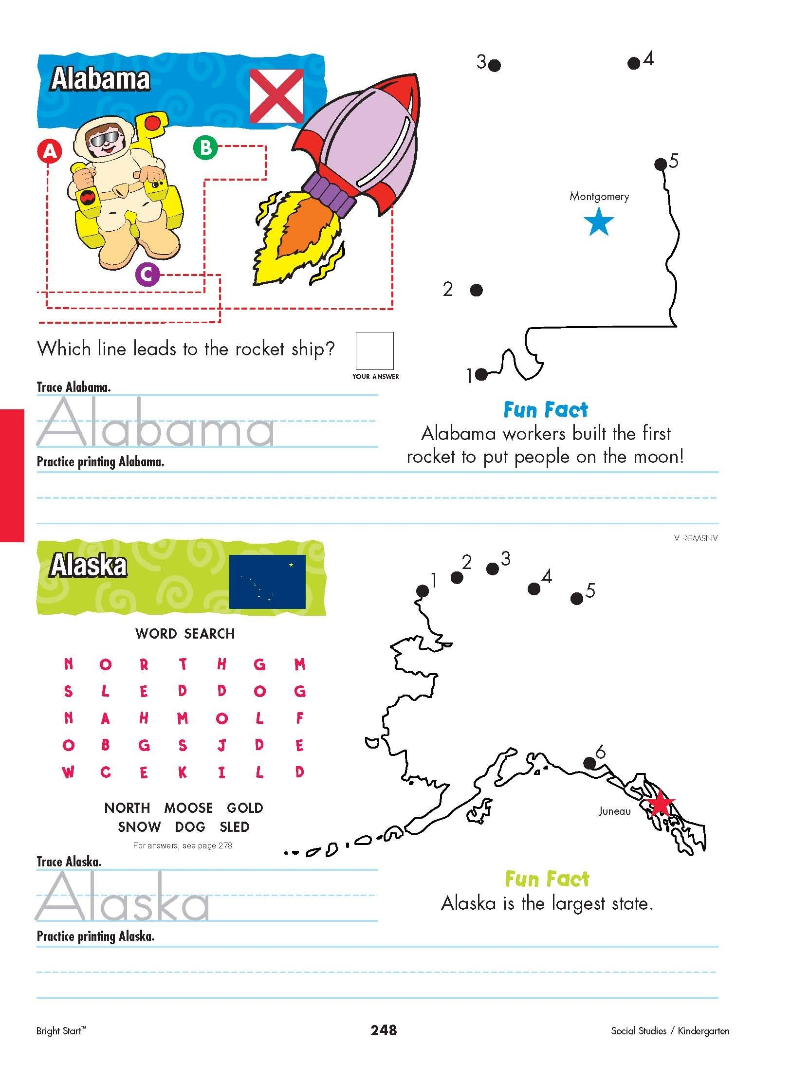 Alabama And Alaska From Shore To Shore Begin Your Kindergarteners Stu S Of The United