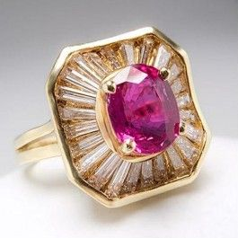 Natural Ruby & Diamond Ballerina Cocktail Ring 18K Gold