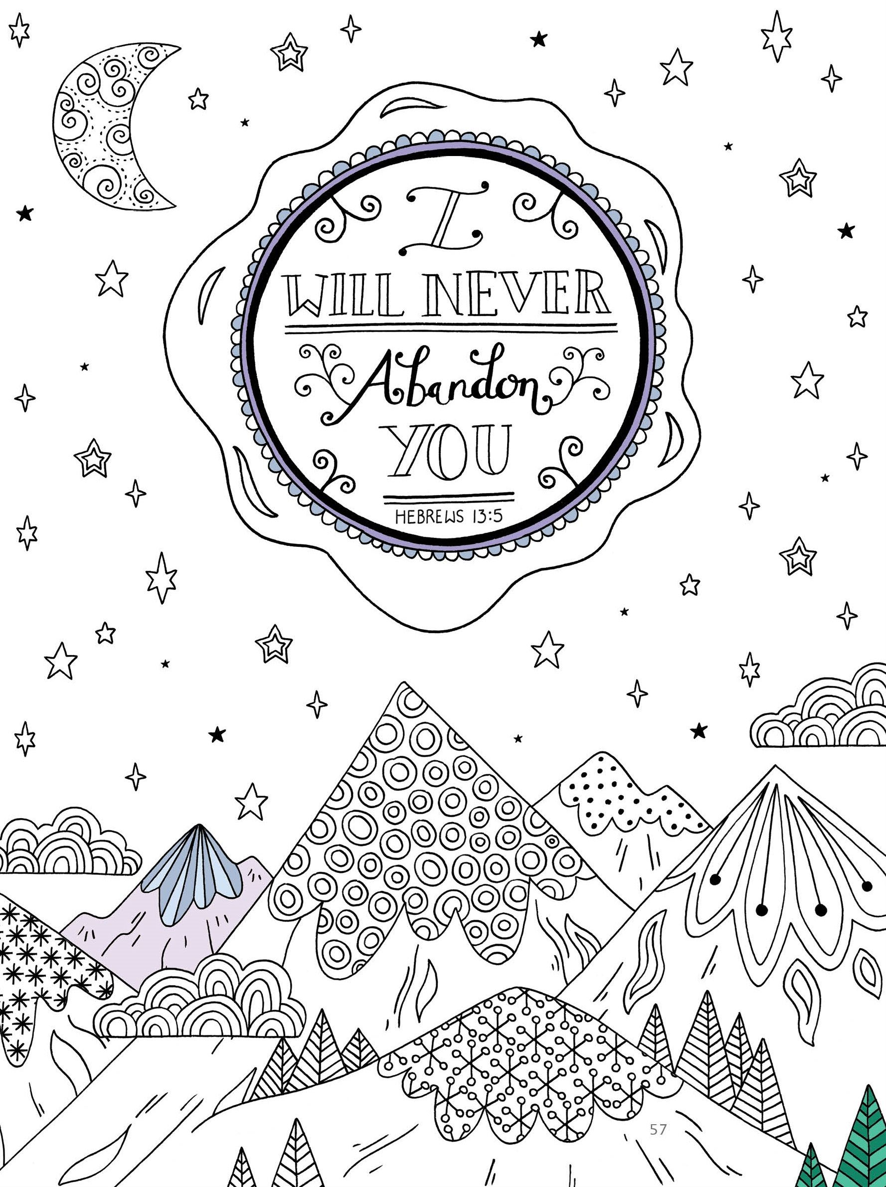 Hebrews 13:5 - Color this page as you remember God\'s faithfulness ...