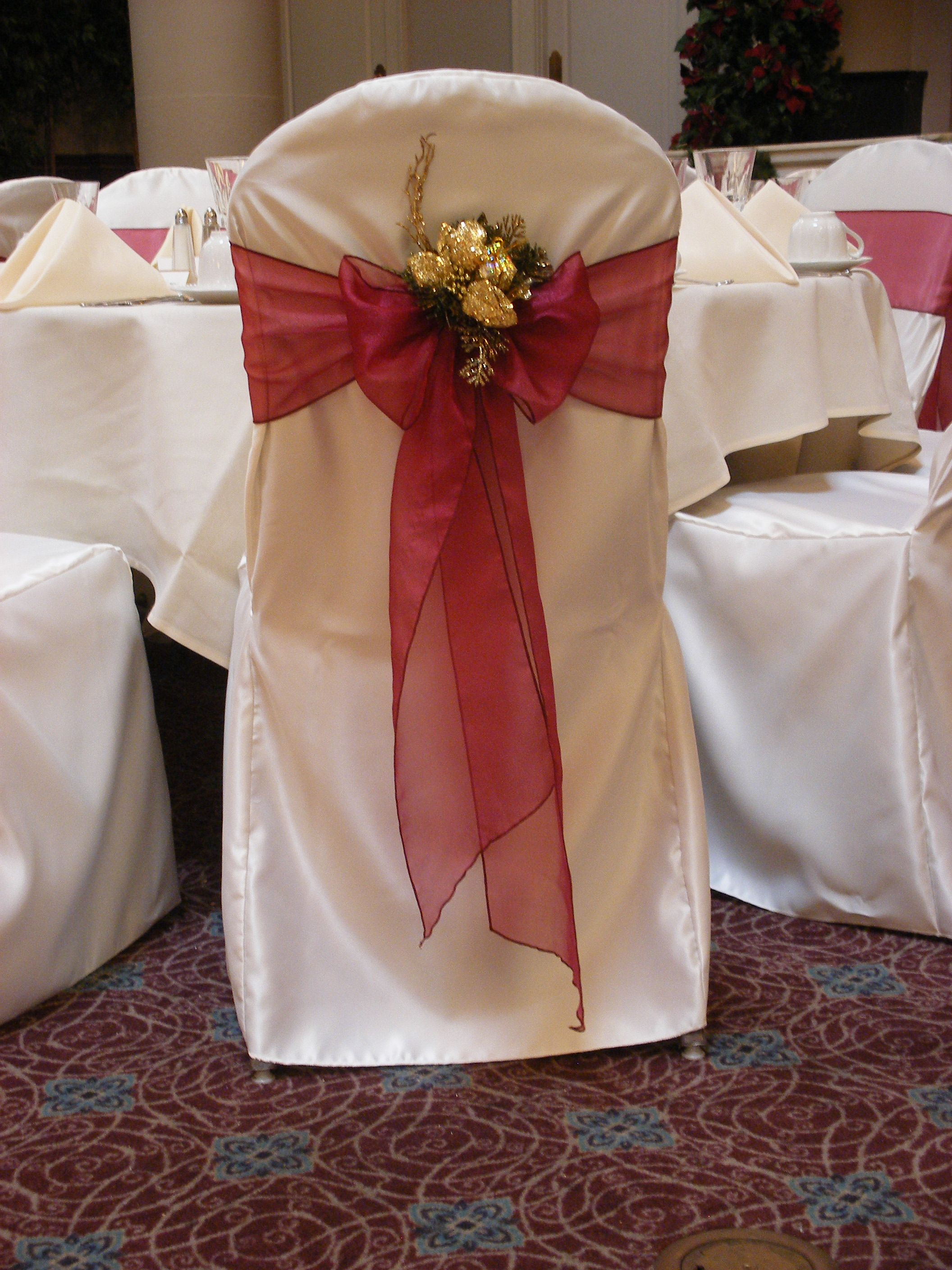christmas chair covers pinterest chairs for showers pittsburgh services bows white wedding ideas