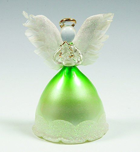 """Green angel figurines with feathered wings, LED color-changing lights change within glass skirt, angel holds Christmas tree. 2 Sets of batteries included. Measures 4"""" x 2.75"""" - LIGHTED ANGEL STATUE. T"""