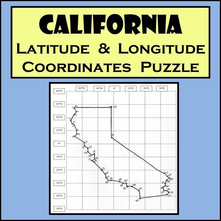 California State Latitude & Longitude Coordinates Puzzle - 44