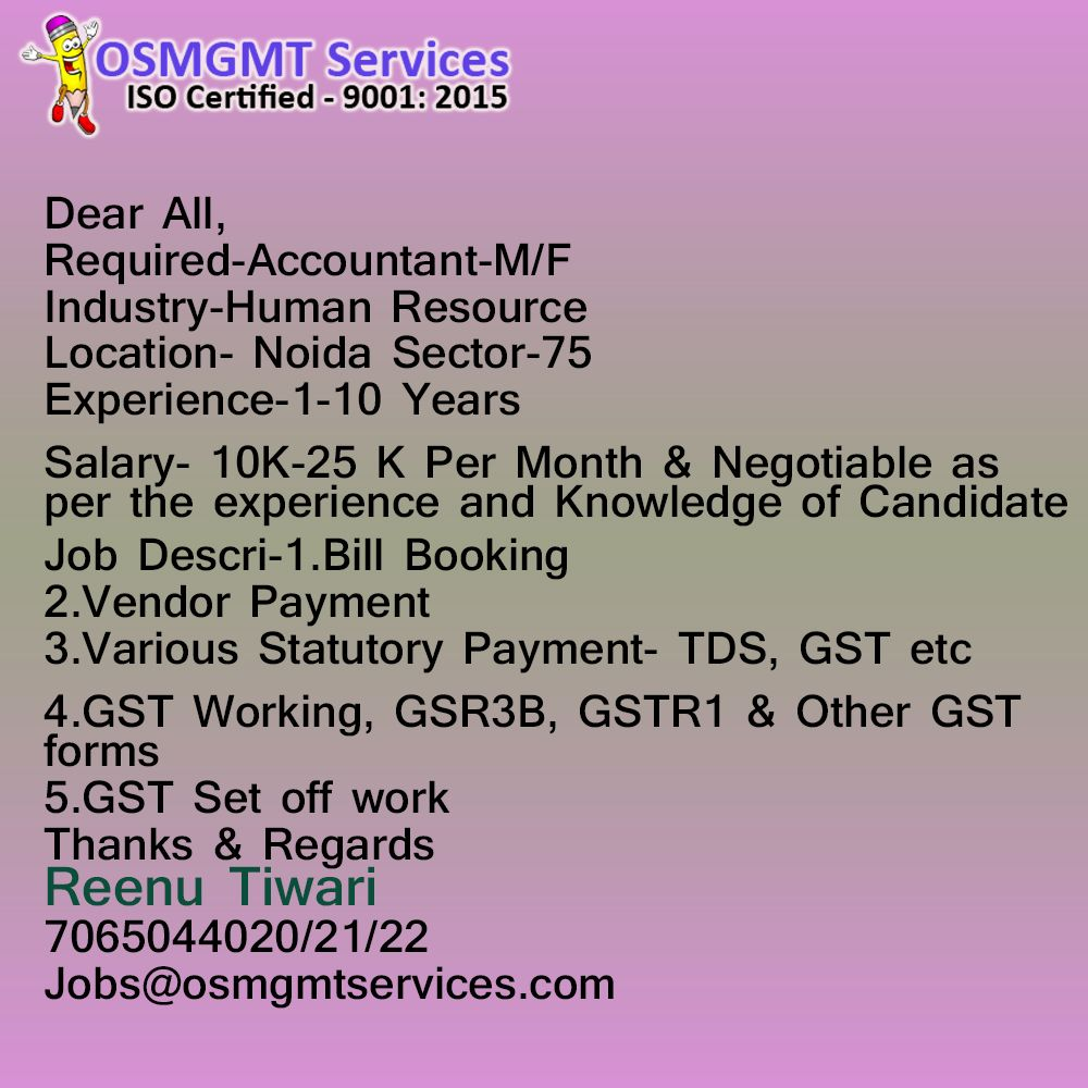 AccountantM/F Accounting, Training and development, Job