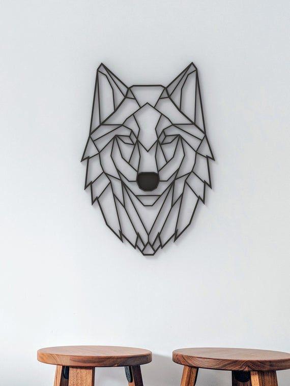 Geometric Wolf Sculpture 3d Hanging Wall Art Figure Wall Decor Scandinavian Style Hygge Home Deco In 2020 Geometric Wolf Geometric Art Animal Animal Wall Art