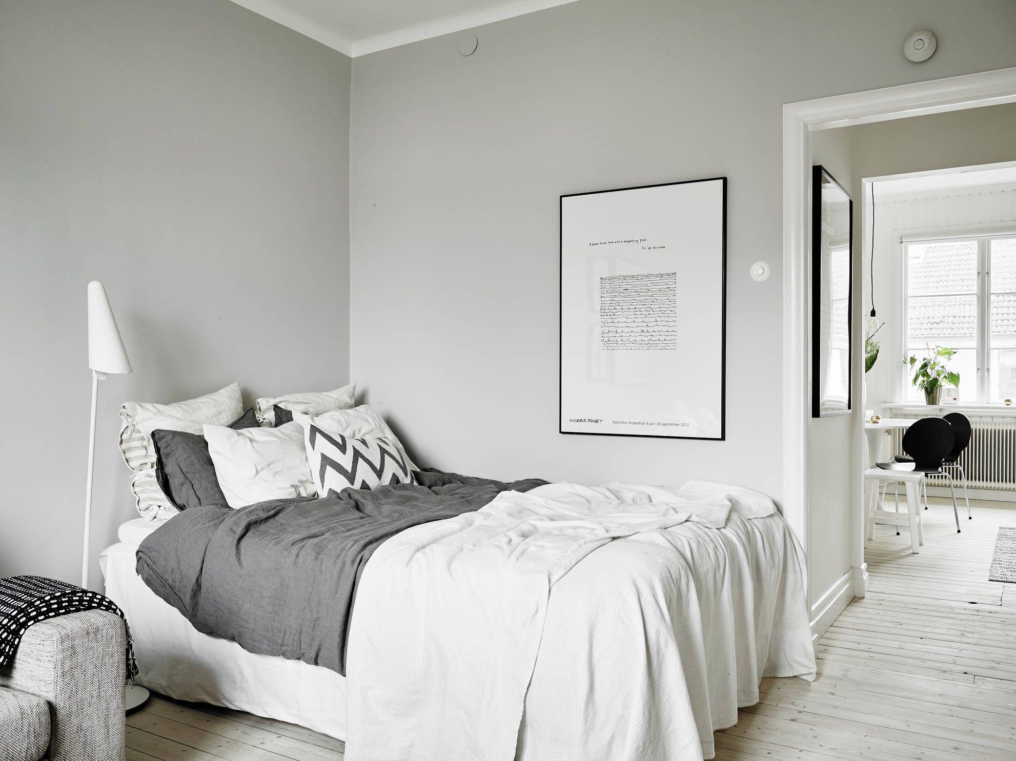 скандинавский интерьер Scandinavian Interior маленькая белая спальня