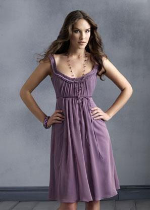 Zoom Bridal- $93- Scoop Neckline Tea length Sash Chiffon Bridesmaid Dress