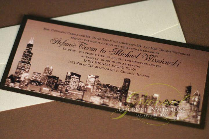 chicago skyline wedding invitations sepia tone photo of the chicago skyline designed as a tea - Wedding Invitations Chicago