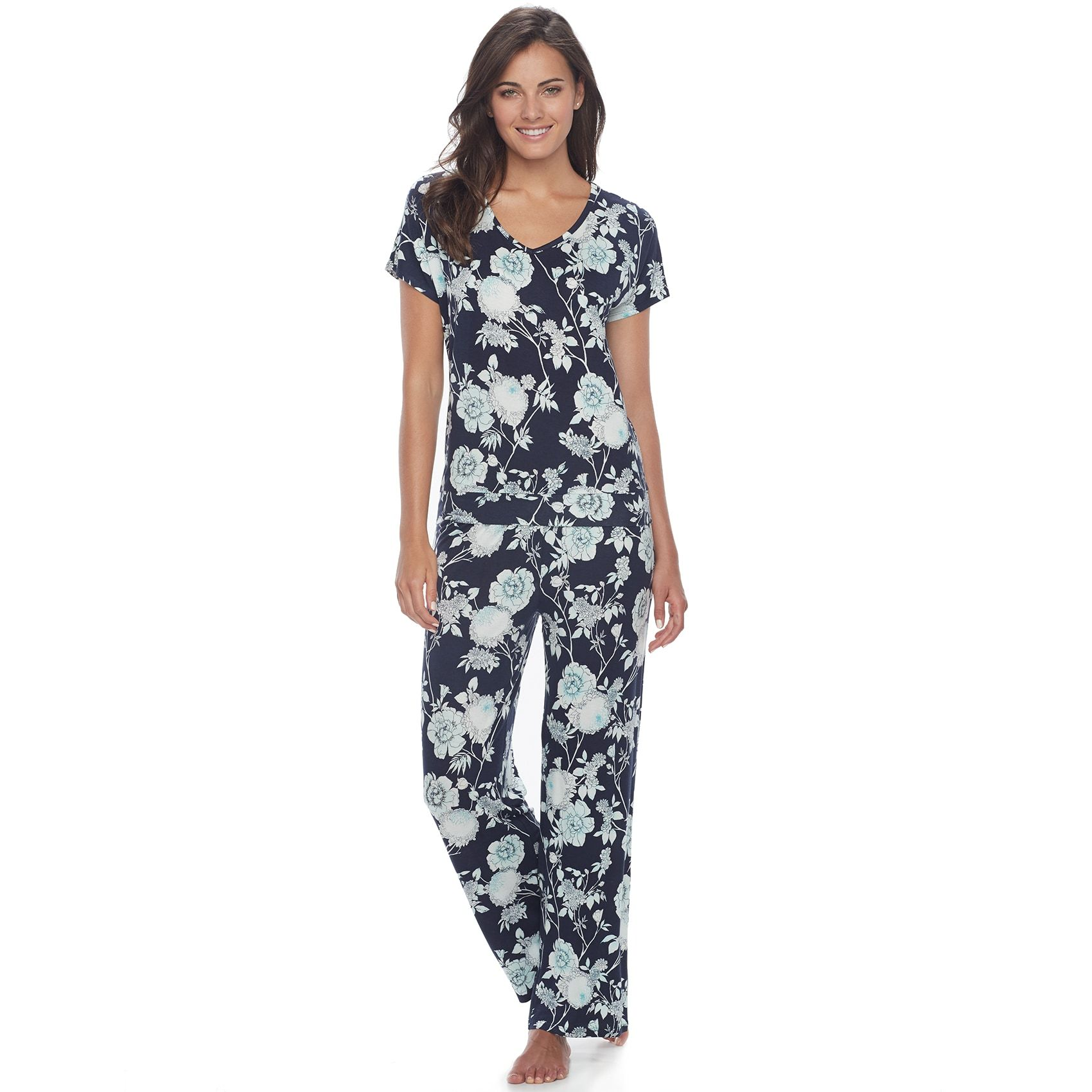 Women's Apt. 9® Pajamas: Lace Back Tee & Pants PJ Set | Cozy ...