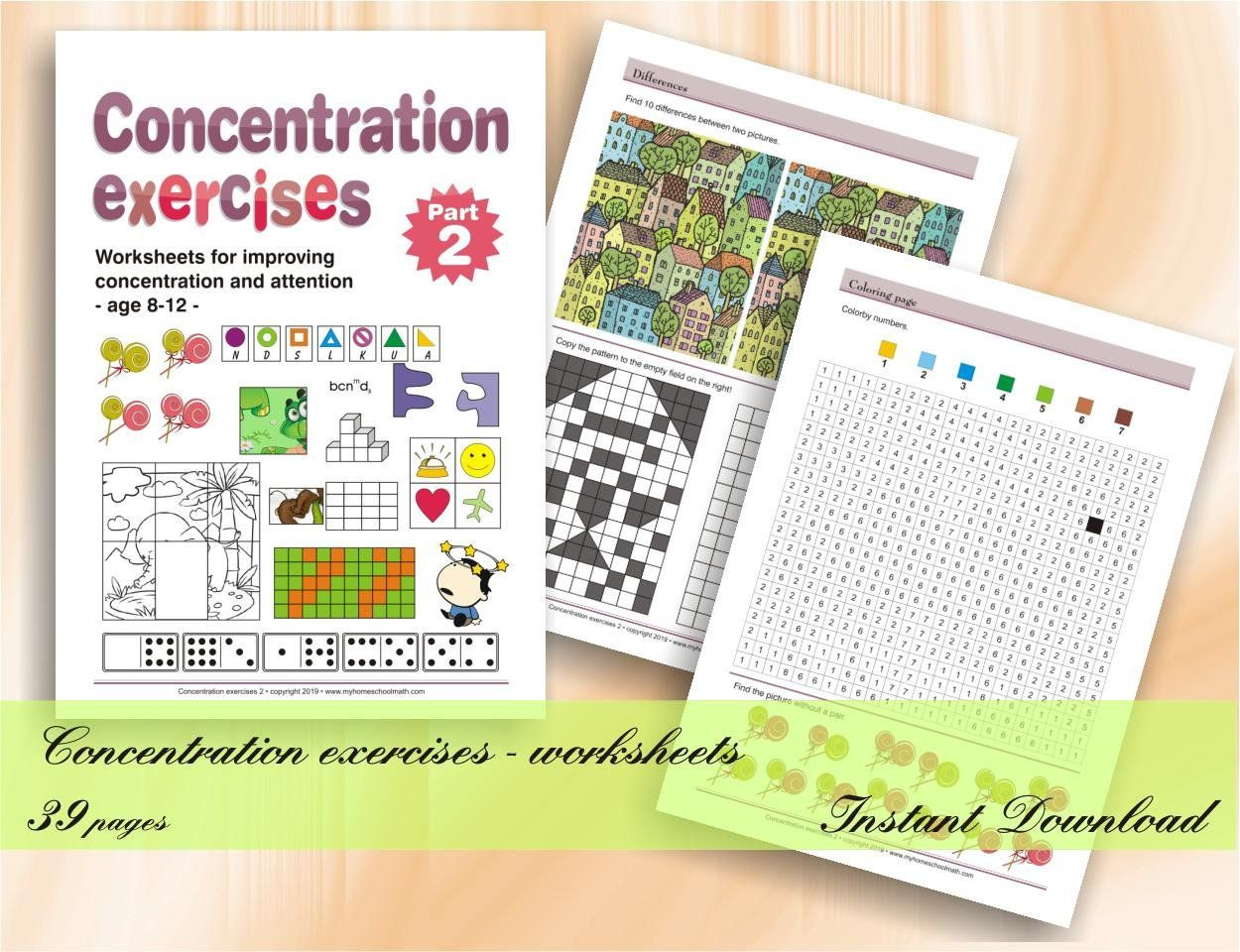 Concentration Exercises For Kids Part 2 Age 8 12 39 Etsy In 2020 Exercise For Kids Kids Part Workbook