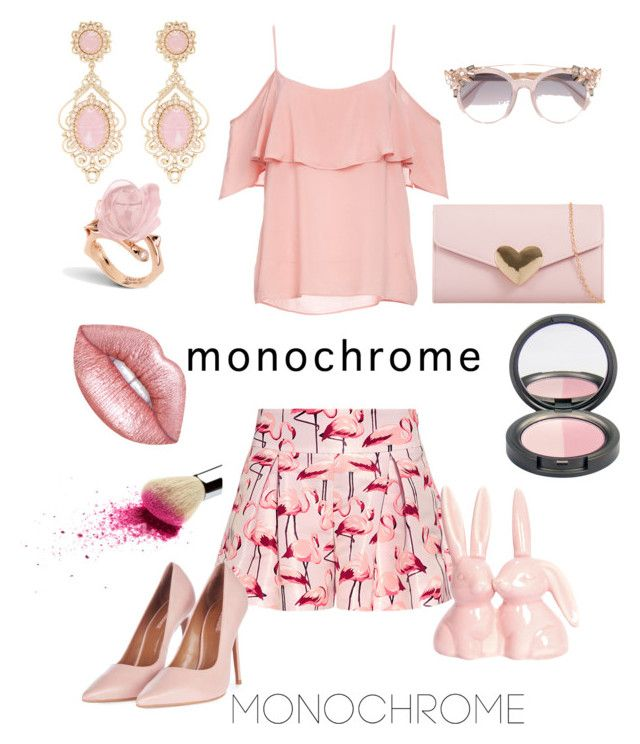 """""""Pink monochrome"""" by stina715 ❤ liked on Polyvore featuring RED Valentino, BB Dakota, Jimmy Choo, Lime Crime, Topshop and monochromepink"""