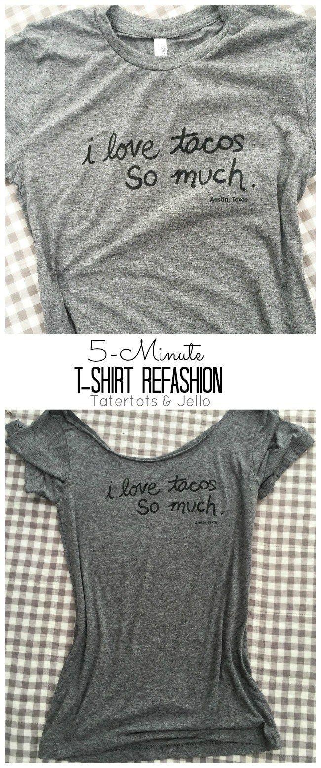 5 Minute T Shirt Neckline Refashion T Shirt Diy Refashion Clothes Shirt Refashion [ 1556 x 650 Pixel ]