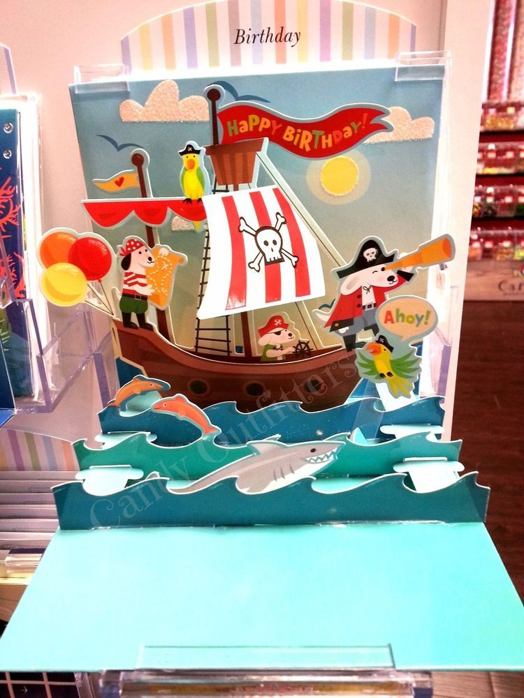 3D Pop Up Card Bithday Wishes Pirate Treasure Ship Popup Card by CardPop