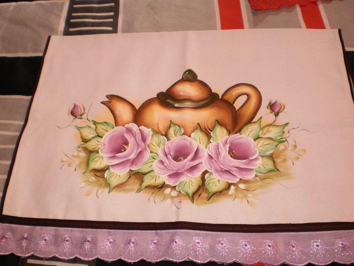 Pano de copa tecido da Estilotex pintado a mão